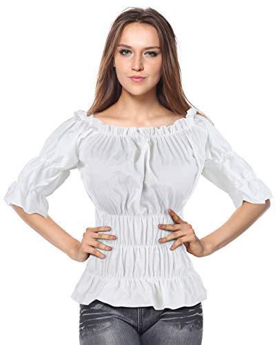 Charmian Women's Off Shoulder Short Sleeves Ruffles Blouse Shirt Crop Top White XXXX-Large (Top Turquoise Peplum)