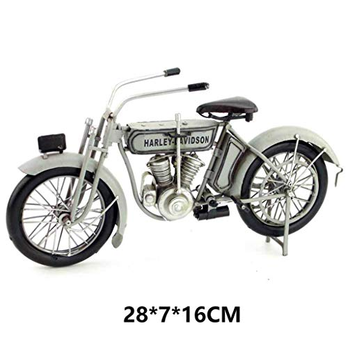 ZBHW American Retro Metal Antique Home Decoration Ornaments | 1909 Harley's First V-Type Twin-Engine Motorcycle (Color : A)