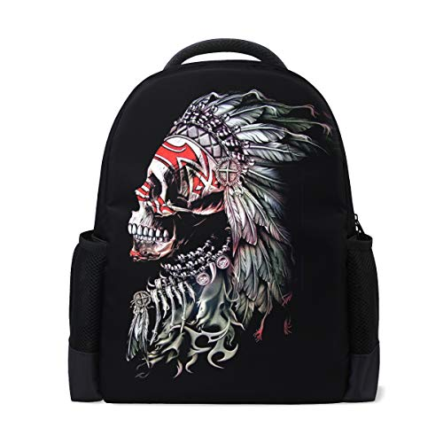 Chief Height Adjustable Single - MUOOUM Tribal Chief Skull Polyester Backpack School Book Bag Travel Daypack