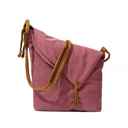 bolsa Rosa coreano roja lona de 32cm 11cm tela de bolsa bolsa zipper retro Bolso dirección 29cm coreano de arte Hombro zEIBcqEU