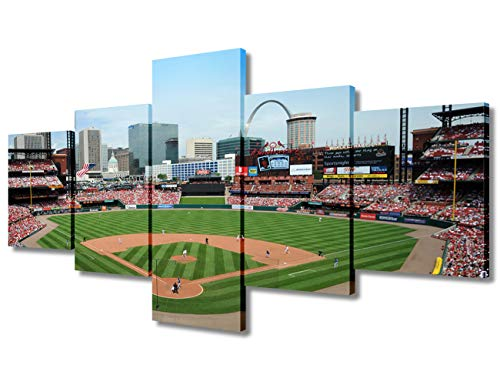 Saint Louis Cardinals Landscape Canvas Prints 5 Panels Busch Stadium Painting Poster Baseball Wall Art Picture Decor for Living Room Bedroom Kitchen Office Home Present Framed Ready to Hang(50 Wx24 H)