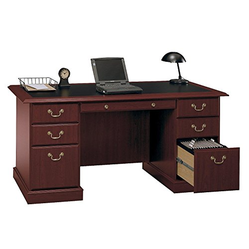 Solid Wood Office Executive Furniture - Bush Furniture Saratoga Executive Home Office Wood Manager's Desk in Cherry