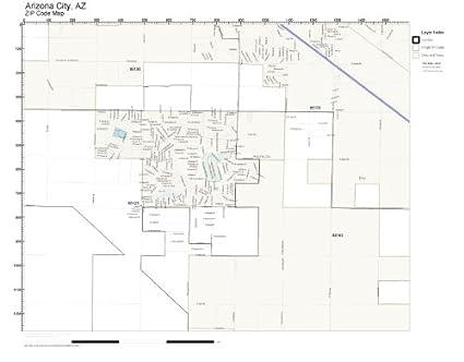 Amazon Com Zip Code Wall Map Of Arizona City Az Zip Code Map Not