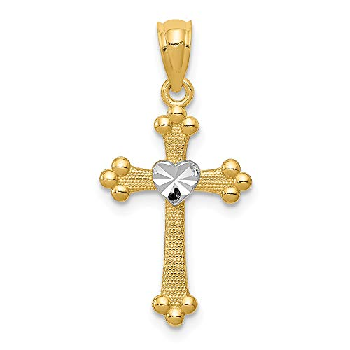 (FB Jewels Solid 14K Yellow Gold Rhodium Budded Cross Charm)