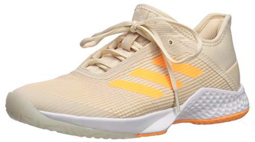 adidas Women's Adizero Club Tennis Shoe, Linen/Flash Orange/White, 8 M ()