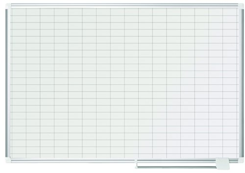 MasterVision Planning Board Porcelain Dry Erase Magnetic 1'' x 2'' Grid, 36'' x 48'', Whiteboard with Aluminum Frame by MasterVision