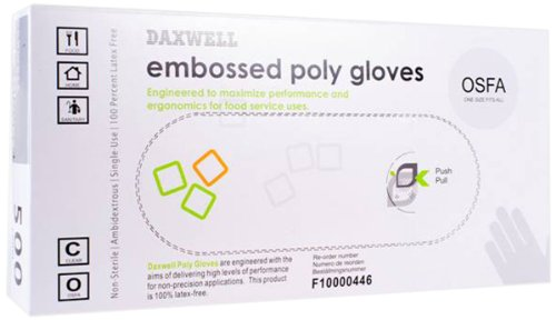 Daxwell Embossed Food Preparation Poly Gloves, One Size Fits All (Box of 500 Gloves)
