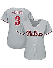 Harper Phillies 3# Uniforme de béisbol para Mujer, Uniforme de béisbol Juego de Manga Corta Botón del Equipo Parte Superior del botón, Sudadera Uniforme de Entrenamiento S-3XL
