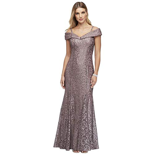 Cold-Shoulder Glitter Lace Mermaid Mother of Bride/Groom Dress Style 2047, Mocha, 16