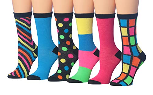 Tipi Toe Women's 6-Pairs Colorful Funky Patterned Crew Dress Socks (WC34-A)