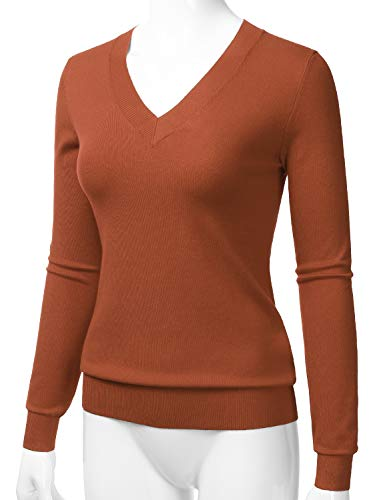LALABEE Women's V-Neck Long Sleeve Soft Stretch Pullover Knit Top Sweater