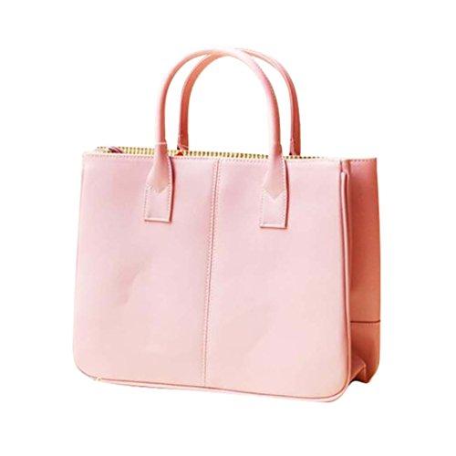 Sentao Donna Shopper Borse a Spalla Tracolla Borsa Grande Capacità PU Cuoio Borsetta Pure Color Pink