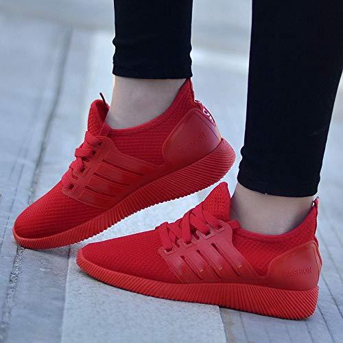 Transpirables Malla Zapatillas Verano Walking Cordón de Ligeros Rojo Loafer Cinnamou Sneakers para Mocasines Zapatos Plano Caminar Deportiva de Elástico Calzado de Mujer ZwRFFpqaX