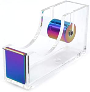 LUYING Desktop Clear Tape Dispenser Acrylic Nonslip Tape Cutter Heavy Duty [Elegant and Modern Design] Office Stationery (Rainbow)
