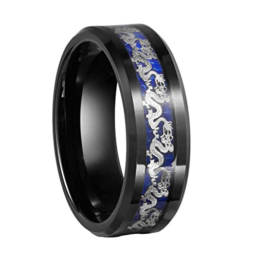Queenwish 8mm Black Tungsten Carbide Ring Silvering Dragon Blue Carbon Fibre Inlay Mens Wedding Bands Jewelry Size 12.5 ()