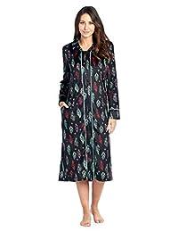 Ashford & Brooks Women's Long Zip Up Mink Fleece Lounger Robe