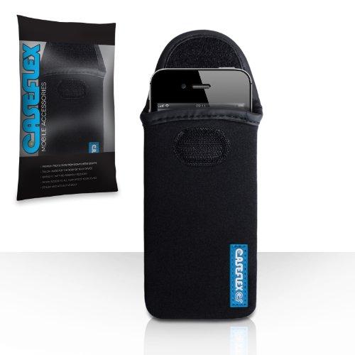 iPhone 4 / 4S Tasche Schwarz Neopren Beutel Hülle Mit Caseflex Logo