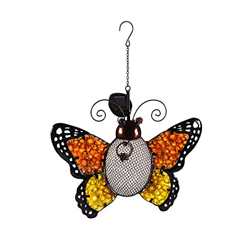 Evergreen Garden Butterfly Metal and Glass Solar Mesh Hanging Bird Feeder