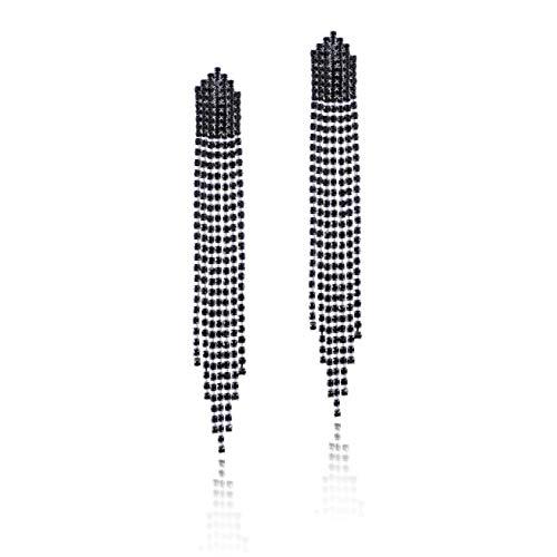 - Long Black Rhinestone Earrings - Sterling Silver Long Waterfall Tassel CZ Crystal Statement Studs Wedding Bridal Dangle Earrings Simulated Diamond Earrings for Bride Bridesmaids Party Prom Pageant