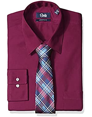 Mens Dress Shirts and Tie Combo Plaid Tie Athletic Fit