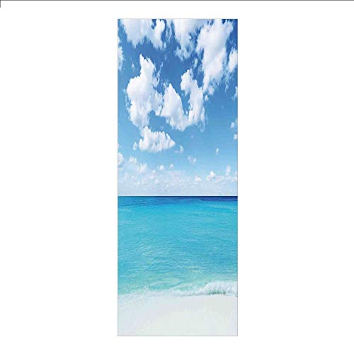 3D Decorative Film Privacy Window Film No Glue,Ocean,Surreal Tropical Seascape with Dreamy Sea and Sky Paradise Coast Hawaiian Art Decorative,Turquoise White,for Home&Office