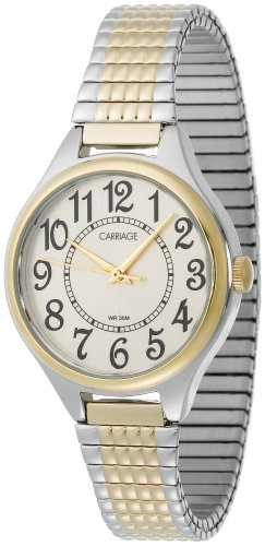 (Carriage Women's C3C367 Two-Tone Round Case White Dial Two-Tone Expansion Band Watch)