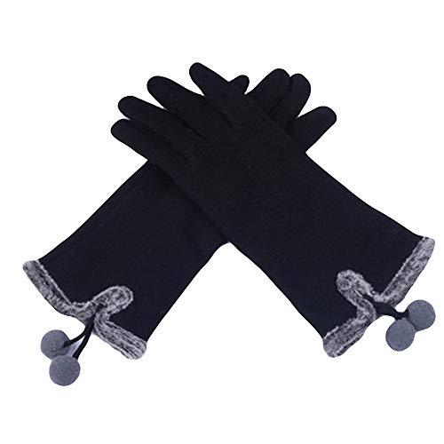 EnjoCho Elegant Womens Gloves Screen Winter Warm Fluffy Soft Wrist Gloves Mittens Polar Fleece Full Finger (Black)