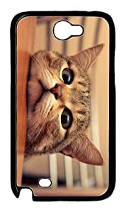 free case cute cat head PC Black case/cover for samsung galaxy N7100/2