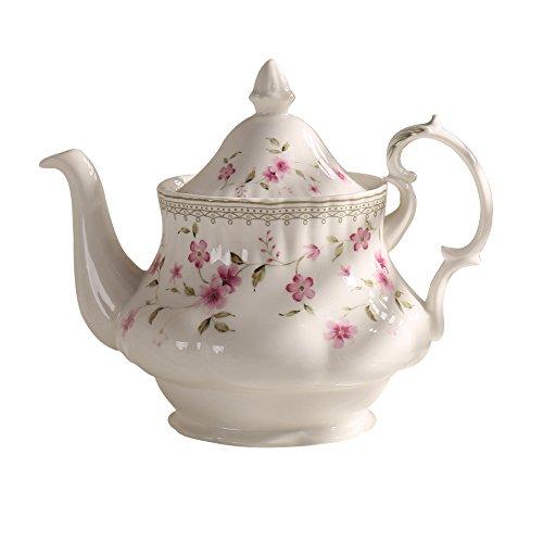 Vintage Ceramic Porcelain (Jomop Pretty Floral Pattern Porcelain Ceramic Decorative Handpainted Teapot 24 oz (White))