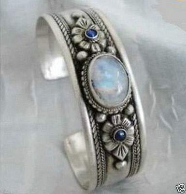 (Unisex Tibet Silver Opal Beads Cuff Bracelet)