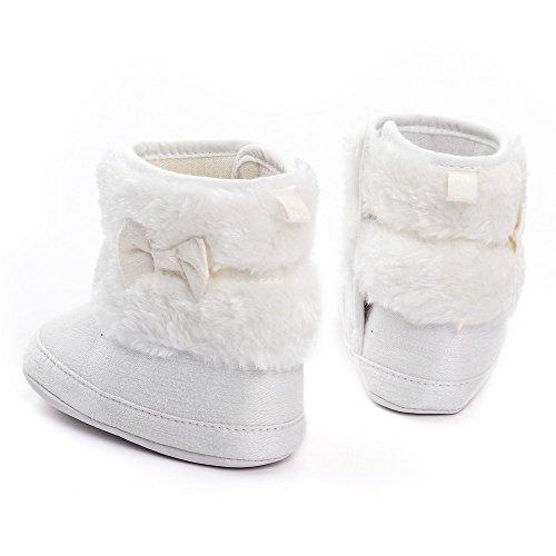 Estamico bebé niña de peluche con lazo de invierno botas de nieve caqui Talla:6-12 meses blanco