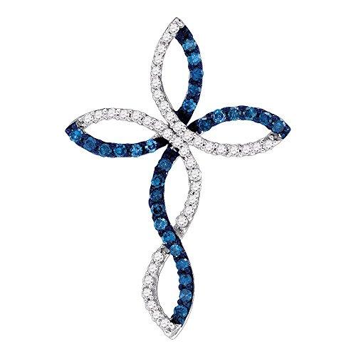 10k White Gold Blue Diamond Cross Pendant Floral Religious Charm Fashion Curve Design Fancy 1/3 Cttw ()