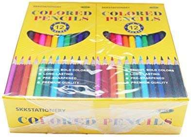 12pcs//Box Pre-sharpened Total: 144Pcs. SKKSTATIONERY 144Pcs Colored Pencils 12 Colors