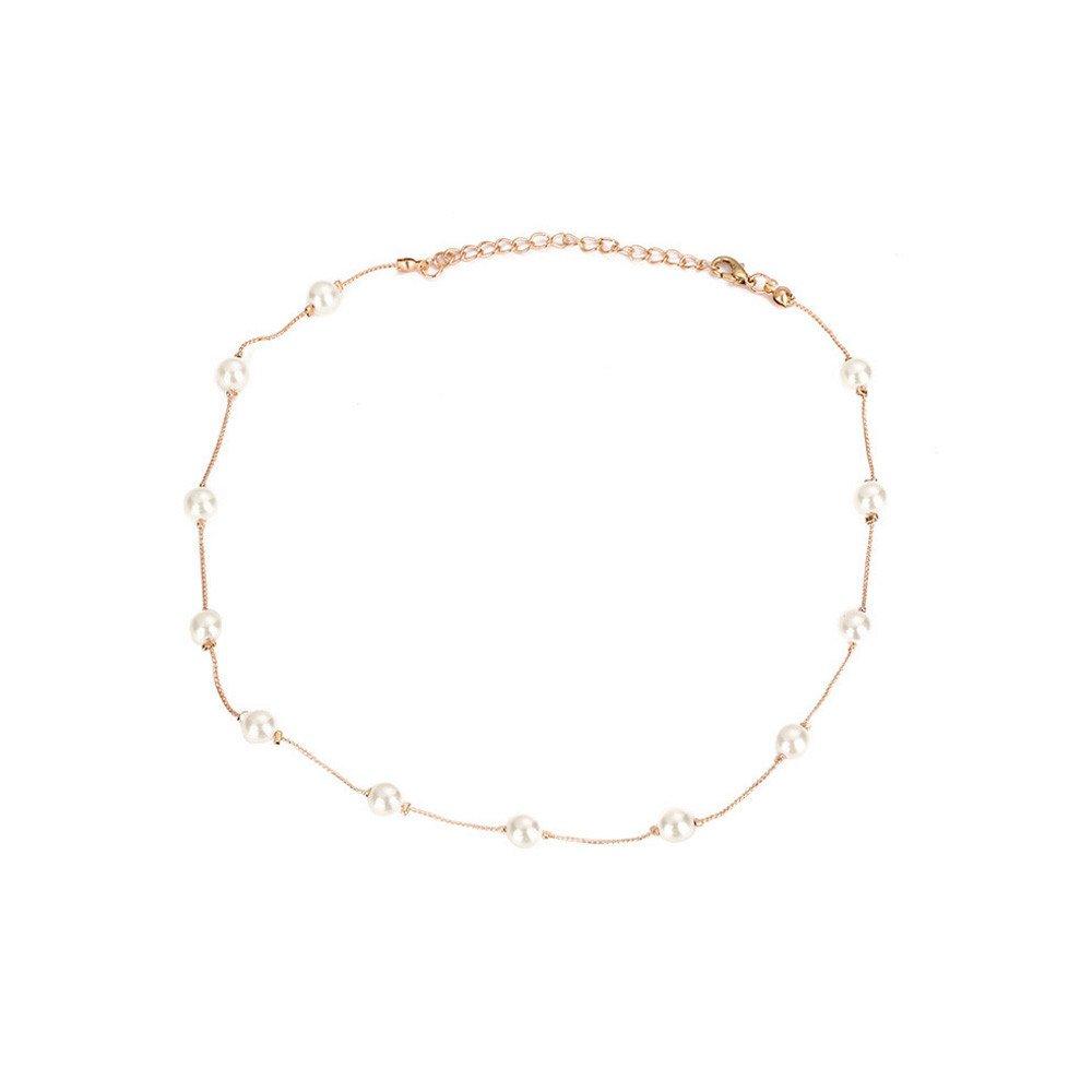 SSYUNO パールモノレイヤーネックレス 鎖骨チェーンネックレス シンプルなチョーカー 上品なペンダント ハンドメイドジュエリー 彼女へのギフト  Gold,Silver B07MCY1DQK