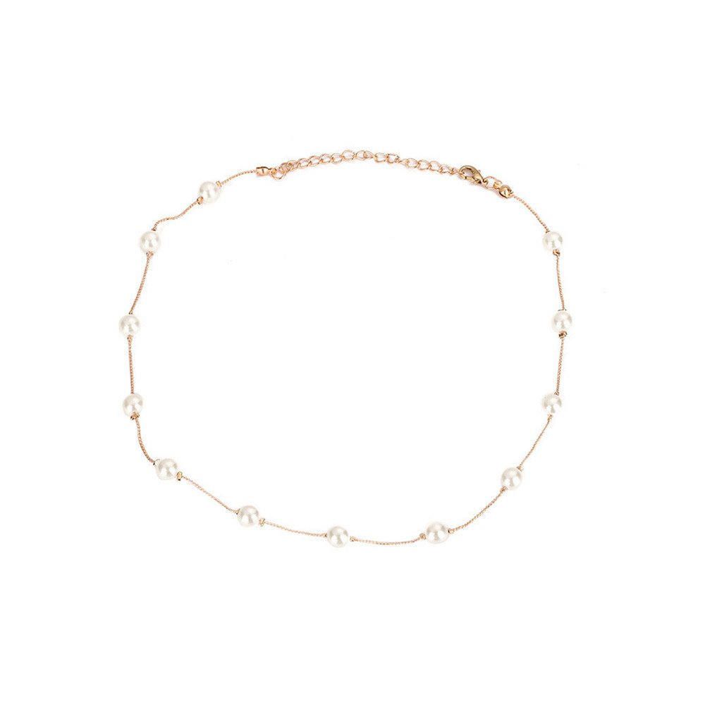 SSYUNO Pearl Monolayer Necklace Clavicular Chain Necklaces Simple Chokers Dainty Pendant Handmade Jewelry Gift for Her