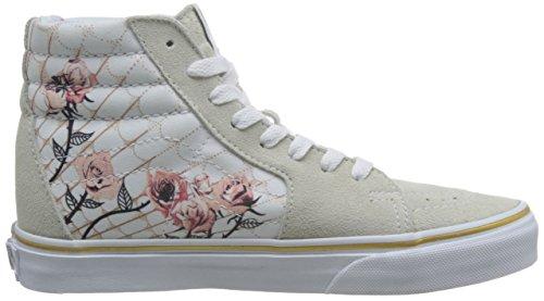 Bestelwagens Unisex Sk8-hi Skate Schoenen, Kant-up High-top Stijl In Duurzaam Canvas En Suède Bovendeel, Ondersteunende En Gevoerde Enkels In Busjes Gevulkaniseerd Handtekening Wafel Zool Beige / True White
