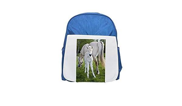 Fjord, caballo noruego de pie con un mare, Suecia. Mochila azul infantil estampada, bonitas mochilas, lindas mochilas pequeñas, bonita mochila negra, ...