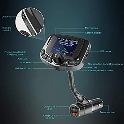 Tasshz Bluetooth FM Transmitter for Cars, USB Bluetooth Adapter, 1.8'' Color Display, Hands-Free Kit for Car, Auto Search FM Channels, QC3.0 Fast Charging, Support USB Drive, TF Card, AUX Input/Output: MP3 Players & Accessori