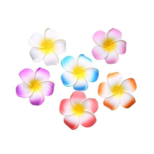 Pursuestar 100Pcs 2.8″ Mixed Colors Foam Hawaiian Frangipani Artificial Plumeria Flower Petals Hair Hat Wreath Floral DIY Wedding Decoration Vacation Party Supplies
