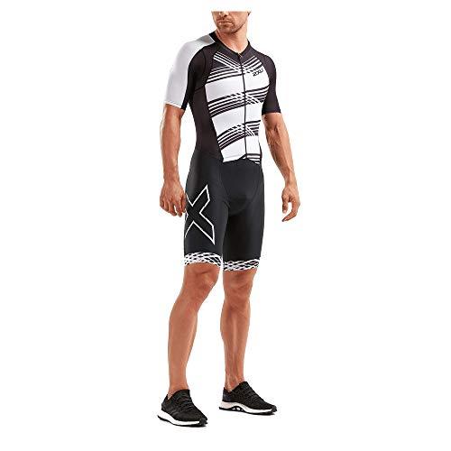 (2XU Men's Compression Full Zip Sleeved Trisuit (Black/Black White Lines, Medium))
