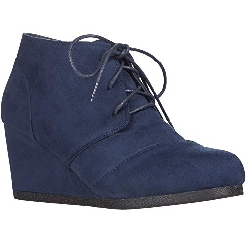 Women's Round Toe Lace Up Wedge Heels Suede Ankle Boots Booties (7.5, Navy) -