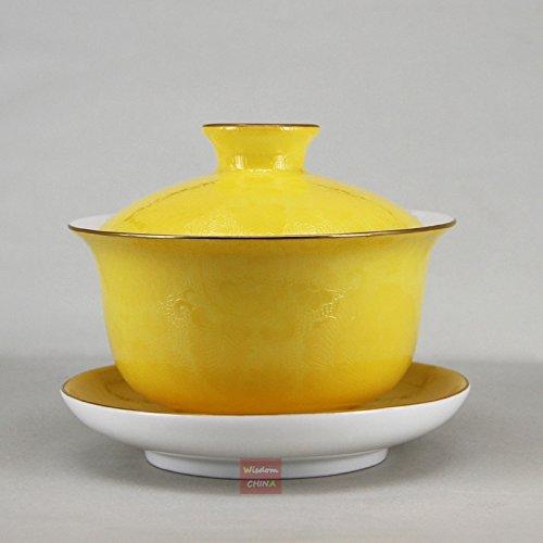 Yellow Gaiwan Jingdezhen Handmade Pa Hua Famille-rose Porcelain Tea Cup ()
