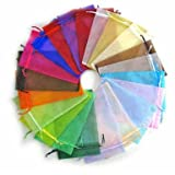 Organza Wedding Favour Bags 13x18cm /5x7 Inches 100pcs Beautiful Transparent 10 Color Organza Drawstring Pouches candy Jewelry Party Wedding Favor Gift Bags Pouch Bags (10 Colors 5X7inches)