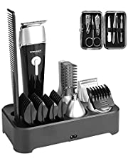 Sminiker Professional 5 in 1 Men's Grooming Kit Waterproof Electrinic Razor Hair Clippers Beard Trimmer Rechargeable Precision Nose Ear Trimmer