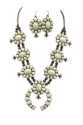 (Tipi Southwestern Navajo Faux Turquoise Squash Blossom Statment Necklace & Earrings Set)