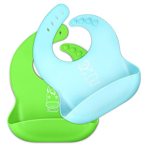 2PCS Waterproof Silicone Bib Easily Wipes Clean, Tenrial Environmental Protection Comfortable Soft Baby Bibs, Adjustable Snaps Baby Bibs For Infants And Toddlers With Food Catcher Pocket (Green/Blue)