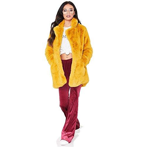 Kemosen Hiver Chaud Fluffy Jaune Veste Epais Femme Long Femmes Manteau Outwear RORrcUAqp