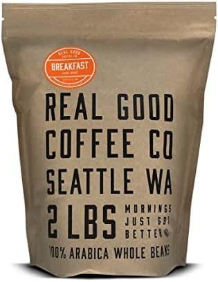 Real Good Coffee Co Breakfast Blend Light Roast Whole Bean Coffee, 2 Pound Bag, 100% Arabica Coffee Beans