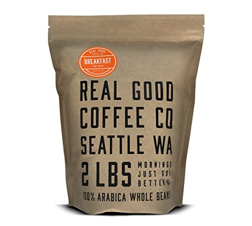 Real Good Coffee Co Breakfast Blend Light Roast Whole Bean Coffee, 2 Pound Bag, 100% Arabica Coffee Beans