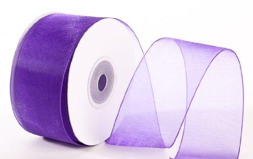 "25 Yard Spool of Elegant Light and Sheer Purple Organza Ribbon- 1.5"" Wide"